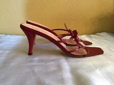 Prada Red Sandal Heels Strappy Size 9 1/2