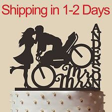 """Custom Wedding Cake Topper with name and motorcycle, Mr and Mrs,made in USA 6"""""""