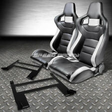 PVC LEATHER HIGH-HEAD RACING SEATS+LOW MOUNT BRACKET FOR 05-10 CHEVY COBALT/G5