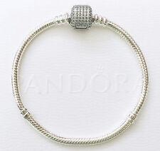 CLOSING SALE! Pandora Silver Collier Bracelet w/ CZ Pave Clasp 17cm #590723CZ