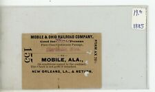 1885 Mobile and Ohio Railroad Co Pass ticket