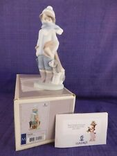 Lladro Winter # 15220 Rare Matte Finish, Boy with Dog with Box