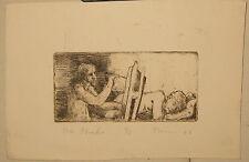 1964 JOHN THEIN 'The Studio' SELF PORTRAIT Etching - LISTED CREIGHTON University