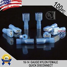 16-14 GAUGE 100 PC NYLON FULLY INSULATED QUICK DISCONNECT FEMALE .250 CONNECTOR