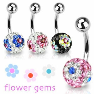"Belly Button Piercing Ferido Crystal 4 Colours "" Flower "" from Coolbody"