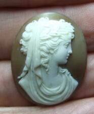 ANTIQUE QUALITY CARVED CLASSIC FEMALE SHELL CAMEO 28 x 23mm