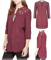 New Ex M&S Ladies Maroon Viscose Blouse Lace Yoke Tunic Top Size 10-20 RRP £32.5