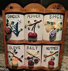 Vintage GNCO Japan Wood Spice Rack Ceramic Spice Shakers 6 Hangable w/ wood rack