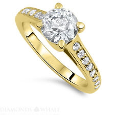 Wedding Round Enhanced Diamond Ring Solitaire Accents SI1/D 1.28 TCW Yellow Gold