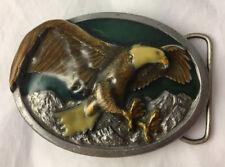 Vintage 1984 Bergamot Brass Works Enamelled Flying Bald Eagle Belt Buckle