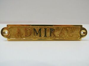 1 x 5 Solid Brass Admiral Sign Plaque -(B5C290)