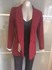 NUEVO Pull & Bear Talla M Abrigo Chaqueta Blazer Púrpura Rojo Borgoña