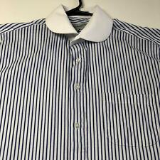 Fratello Men's Long Sleeve Button Up Dress Shirt 16 ½ 36 37 Blue White Stripes