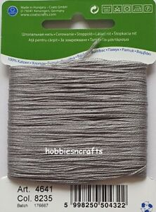 MID GREY COATS 100% COTTON Thread for Hand Sewing Darning & Mending - 20 Metres