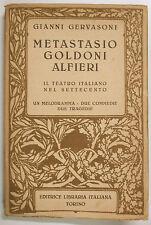 GERVASONI METASTASIO GOLDONI ALFIERI Teatro Italiano Settecento 1941