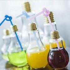 Creative Plastic Light Bulb Shape Cup Drink Juice Bottle Jar For Flower Decor