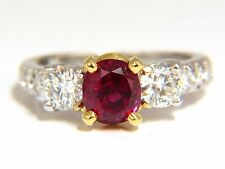 "GIA Certified 1.83ct oval cut ""pigeons blood"" red ruby 1.02ct diamonds ring 18kt"