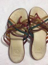 Ladies Colorful CROCS Toe Post Sandals Flip Flops Summer Shoes SZ 10