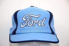 Ford Foam Mesh Snapback Trucker Hat Light Blue Embroidered Script Logo One Size