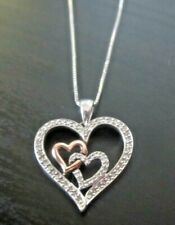 """**SS 14K White Yellow GOLD 2 HEARTS in ONE HEART DIAMOND Pendant 18"""" Necklace**"""