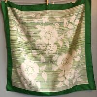 "26"" Sq Vintage Green Floral Scarf Made in Italy Mod MCM"