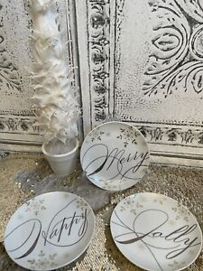 """Pier 1 Imports Holiday App/Dessert Plates 6"""" """"Holiday Wishes"""" Set of 3"""