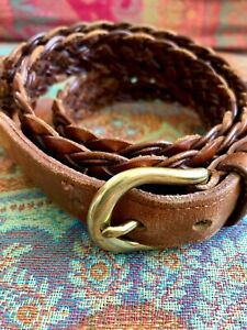 Coach Braided Leather Belt 40 Woven Solid Brass Buckle 3850 British Tan