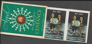 FRANCE UNITED NATIONS CHILDHOOD APPEAL 5x 10Fr LABELS 1948 COMPLETE BOOKLET