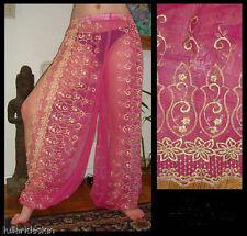 Harem Pants Belly Dance Fuchsia Pink w/ Gold Brocade Slit