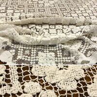 Vintage Floral Filet Lace Tablecloth 69x56 Off White