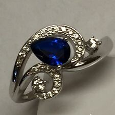 Beautiful 2ct Blue White Sapphire 925 Solid Sterling Silver Solitaire Ring sz 7