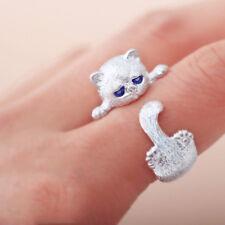 Mode Schöne Silber Überzogene Nette Katze Ringe Tier Augen Offenen Ring Vintage-