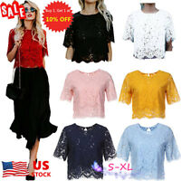 Womens Lace Short Sleeve Crop Tops Blouse Hollow Out Lace Casual T-Shirt Blouse
