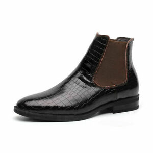 Pointy Toe Chelsea Shoes Men's British Style Pull On Retro Ankle Boots  High Top