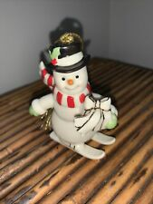 Lenox Very Merry Christmas Series Porcelain Snowman on Skis Ornament