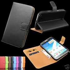 Genuine Real Leather Slim Wallet Stand Cover Case for Samsung Galaxy Note 2