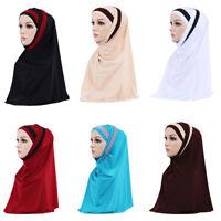 2 Piece Muslim  Women Headscarf Shawl Scarf Hijab Wrap Headwear Amira Islamic