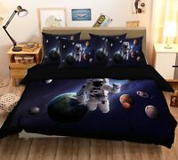3D Astronaut Galaxy 7 Bed Pillowcases Quilt Duvet Cover Set Single Queen King CA