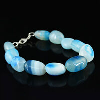 Lowest Price 239.00 Cts Earth Mined Blue Onyx Untreated Beads Bracelet (RS)