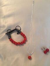 Red Rhinestone Shamballa Style Necklace Set