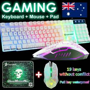 Ergonomic Gaming Keyboard And Mouse Set Rainbow LED USB For PC Laptop PS4 Xbox