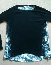CUTE OASIS BLACK KNIT CREW NECK JUMPER WITH FLOWERY FABRIC BACK GREY SMALL 10