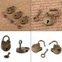 Old Vintage Style SMALL Padlock Key Lock Heart Shape 3x