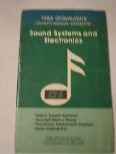 1984 OLDSMOBILE - SOUND SYSTEMS CAR OWNER'S MANUAL - FAIR CONDITION - TUB D