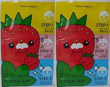 x 2 Sheets Tonymoly Runaway Strawberry Seeds  3 Step  Nose Pack  blackhead