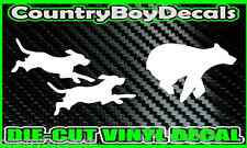 DOGS Chasing BEAR * Vinyl Decal Sticker * Hunting Hounds Black Bear Running