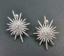 Silver Rhodium Plated CZ Cubic Zirconia Sterling Post Large Starburst Earrings