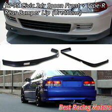 SPN Style Front + TR Style Rear Bumper Lip (Urethane) Fit 92-95 Civic 2dr