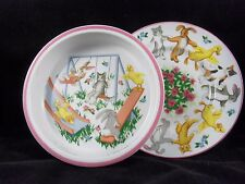 VINTAGE 1992 TIFFANY & CO CHILDS CHINA TIFFANY PLAYGROUND BOWL AND PLATE