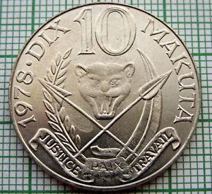 ZAIRE - CONGO DEMOCRATIC REPUBLIC 1978 10 MAKUTA, COAT OF ARMS, UNC